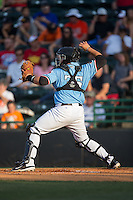 Hickory Crawdads catcher Ricky Valencia (35) makes a throw to second base against the Delmarva Shorebirds at L.P. Frans Stadium on June 18, 2016 in Hickory, North Carolina.  The Shorebirds defeated the Crawdads 4-2 in game two of a double-header.  (Brian Westerholt/Four Seam Images)