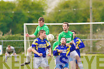 Oh no you don't!: Dwyne Griffin and Jerome O'Dowd of Mainebank try to block the ball from Fergal Moynihan and Brian Donovan of Tralee Celtic during the Denny League DIV 2 on Sunday in Mounthawk.