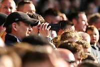 A Derby County fan watches the game through his home-made binoculars<br /> <br /> Photographer Alex Dodd/CameraSport<br /> <br /> The EFL Sky Bet Championship Play-off  First Leg - Derby County v Leeds United - Thursday 9th May 2019 - Pride Park - Derby<br /> <br /> World Copyright © 2019 CameraSport. All rights reserved. 43 Linden Ave. Countesthorpe. Leicester. England. LE8 5PG - Tel: +44 (0) 116 277 4147 - admin@camerasport.com - www.camerasport.com