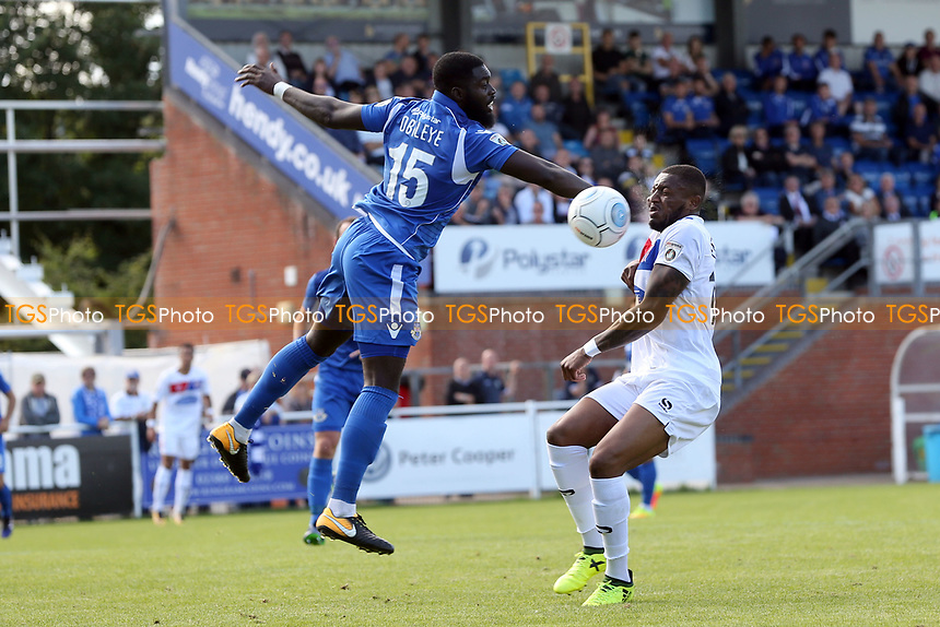 Morgan Ferrier of Dagenham and Ayo Obileye of Eastleigh  during Eastleigh vs Dagenham & Redbridge, Vanarama National League Football at the Silverlake Stadium on 12th August 2017