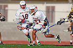 Palos Verdes, CA 03/31/10 - Augie O'Hern (PV # 10) and Romare Smith (PV # 27) in action during the Peninsula-Palos Verdes Junior Varsity Lacrosse game at Palos Verdes High School.  Palos Verdes defeated Peninsula.