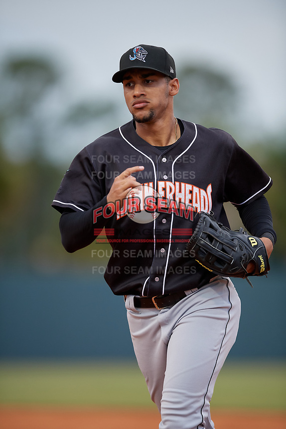 Jupiter Hammerheads center fielder Victor Victor Mesa (32) jogs to the dugout during a Florida State League game against the Florida Fire Frogs on April 8, 2019 at Osceola County Stadium in Kissimmee, Florida.  Florida defeated Jupiter 7-6 in ten innings.  (Mike Janes/Four Seam Images)