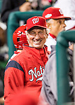 13 October 2016: Washington Nationals Bench Coach Chris Speier smiles in the dugout during the NLDS Game 5 against the Los Angeles Dodgers at Nationals Park in Washington, DC. The Dodgers edged out the Nationals 4-3, to take Game 5, and the Series, 3 games to 2, moving on to the National League Championship against the Chicago Cubs. Mandatory Credit: Ed Wolfstein Photo *** RAW (NEF) Image File Available ***