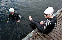 14 MAY 2010 - HOLME PIERREPONT, GBR - Competitors wait for the start of the VUE National Emergency Services Triathlon Championships (PHOTO (C) NIGEL FARROW)