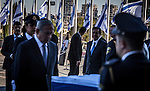 Israeli Prime Minister Benjamin Netanyahu, pay his, respect to Former president Shimon Peres's casket placed outside the Knesset Israelis parliament in Jerusalem so that the public may pay its last respects on Thursday Sept 29 2016. Peres 93 passed away Tuesday, he was the last member of Israel's founding generation, and was feted internationally as a visionary man of peace. Photo by Eyal Warshavsky