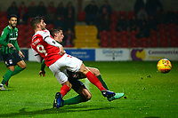 Fleetwood Town's Ched Evans shoots under pressure<br /> <br /> Photographer Richard Martin-Roberts/CameraSport<br /> <br /> The EFL Sky Bet League One - Fleetwood Town v Coventry City - Tuesday 27th November 2018 - Highbury Stadium - Fleetwood<br /> <br /> World Copyright &copy; 2018 CameraSport. All rights reserved. 43 Linden Ave. Countesthorpe. Leicester. England. LE8 5PG - Tel: +44 (0) 116 277 4147 - admin@camerasport.com - www.camerasport.com