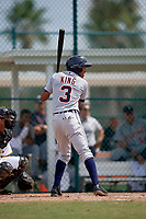 Detroit Tigers shortstop Jose King (3) at bat during an Instructional League game against the Pittsburgh Pirates October 6, 2017 at Pirate City in Bradenton, Florida.  (Mike Janes/Four Seam Images)