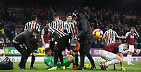 Newcastle United's Martin Dubravka save an attempt at goal in the final seconds of the match by Burnley's Sam Vokes<br /> <br /> Photographer Rachel Holborn/CameraSport<br /> <br /> The Premier League - Burnley v Newcastle United - Monday 26th November 2018 - Turf Moor - Burnley<br /> <br /> World Copyright &copy; 2018 CameraSport. All rights reserved. 43 Linden Ave. Countesthorpe. Leicester. England. LE8 5PG - Tel: +44 (0) 116 277 4147 - admin@camerasport.com - www.camerasport.com