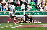 DJ Forbes scores. All Blacks Sevens beat Japan 26-14. 16 May 2015. Twickenham, London, England. Photo: Marc Weakley
