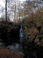 Central park waterfall in the autumn. Images of New York 2004, New York,U.S.A