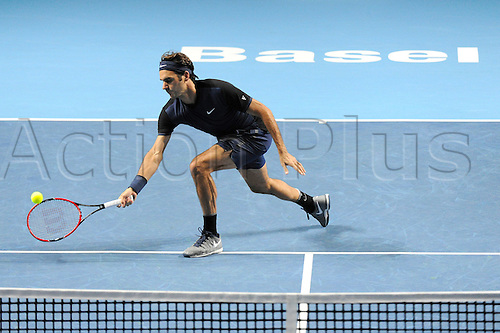 31.10.2015. Basel, Switzerland. Basel Swiss Indoor Tennis Championships. Day Seven Roger Federer in action in the match between Roger Federer of Switzerland and Jack Sock of the United States of America