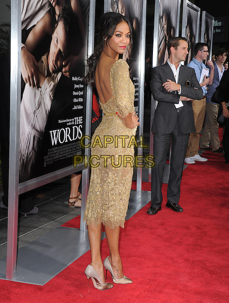 "Zoe Saldana.""The Words"" Los Angeles Premiere held at Arclight Cinemas, Hollywood, California, USA..September 4th, 2012.full length gold lace beads beaded dress belt hand on hip backless looking over shoulder .CAP/RKE/DVS.©DVS/RockinExposures/Capital Pictures."