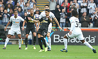Ayoze Perez of Newcastle United is marked by Federico Fernandez of Swansea City and Renato Sanches of Swansea City during the Premier League match between Swansea City and Newcastle United at The Liberty Stadium, Swansea, Wales, UK. Sunday 10 September 2017