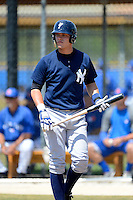 New York Yankees minor league first baseman Matt Snyder #29 during a Spring Training game against the Toronto Blue Jays at the Englebert Complex on March 19, 2013 in Dunedin, Florida.  (Mike Janes/Four Seam Images)