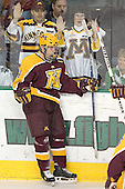 Justin Bostrom celebrates his goal putting Minnesota up 1-0 - The University of Minnesota Golden Gophers defeated the University of North Dakota Fighting Sioux 4-3 on Saturday, December 10, 2005 completing a weekend sweep of the Fighting Sioux at the Ralph Engelstad Arena in Grand Forks, North Dakota.