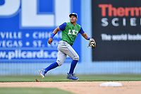 Lexington Legends shortstop Angelo Castellano (1) tracks a fly ball during a game against the Asheville Tourists at McCormick Field on May 29, 2017 in , North Carolina. The Legends defeated the Tourists 6-2. (Tony Farlow/Four Seam Images)