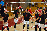 STANFORD, CA - January 2, 2018: Eric Beatty, Kevin Rakestraw, Jacob Thoenen, Russell Dervay, JP Reilly at Burnham Pavilion. The Stanford Cardinal defeated the Calgary Dinos 3-1.