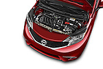 Car stock 2015 Nissan Versa Note 5 Door Hatchback engine high angle detail view