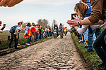 Leading group with World Champion Peter SAGAN from Slovakia of BORA - hansgrohe at the 4 star cobblestone sector 11 of Mons-en-Pévèle during the 2018 Paris-Roubaix race, France, 8 April 2018, Photo by Pim Nijland / PelotonPhotos.com | All photos usage must carry mandatory copyright credit (Peloton Photos | Pim Nijland)