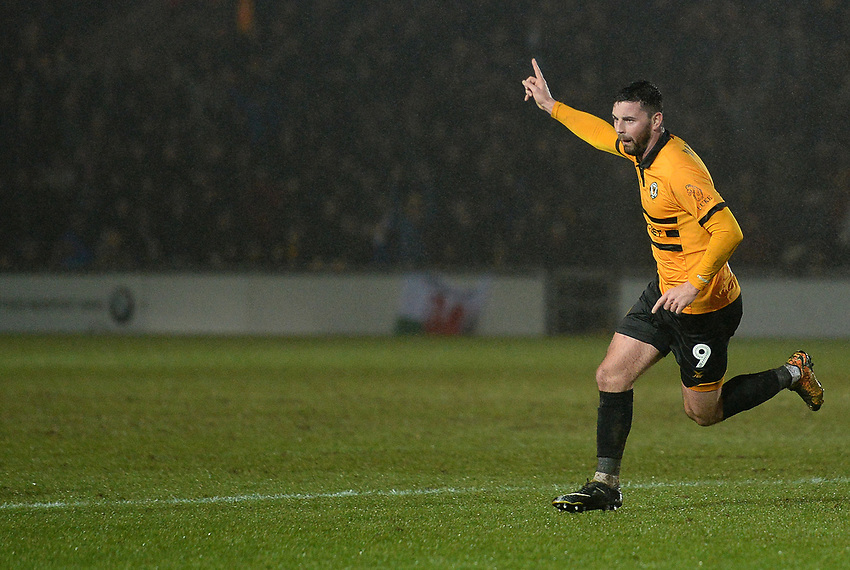 Newport County's Padraig Amond celebrates scoring his side's second goal <br /> <br /> Photographer Ian Cook/CameraSport<br /> <br /> Emirates FA Cup Fourth Round Replay - Newport County v Middlesbrough - Tuesday 5th February 2019 - Rodney Parade - Newport<br />  <br /> World Copyright © 2019 CameraSport. All rights reserved. 43 Linden Ave. Countesthorpe. Leicester. England. LE8 5PG - Tel: +44 (0) 116 277 4147 - admin@camerasport.com - www.camerasport.com