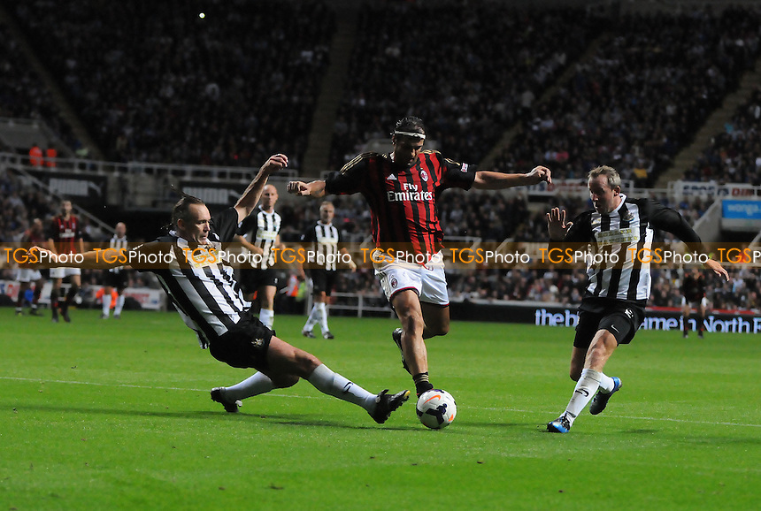 Gianluigi Lentini of AC Milan Glorie is tackled by Darren Peacock of Newcastle United Legends - Newcastle United Legends vs AC Milan Glorie - Steve Harper Testimonial Match at Newcastle United FC, St James Park, Newcastle upon Tyne - 11/09/13 - MANDATORY CREDIT: Steven White/TGSPHOTO - Self billing applies where appropriate - 0845 094 6026 - contact@tgsphoto.co.uk - NO UNPAID USE