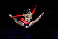 "Anna Bessonova of Ukraine split leaps during gala at 2008 World Cup Kiev, ""Deriugina Cup"" in Kiev, Ukraine on March 23, 2008."