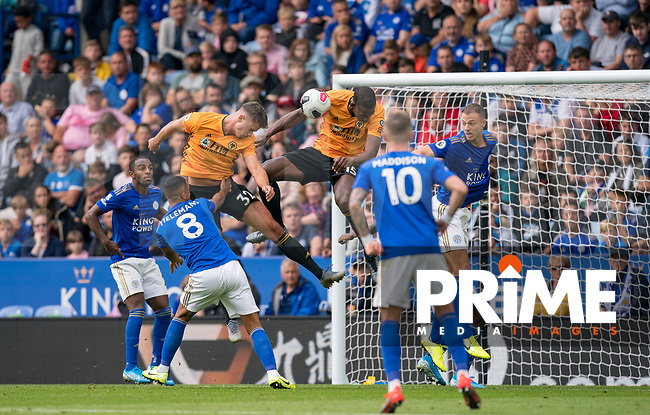 The ball appears to hit Willy Boly of Wolves on the arm in the lead up to Leander Dendoncker of Wolves goal which is later ruled out on the VAR decision during the Premier League match between Leicester City and Wolverhampton Wanderers at the King Power Stadium, Leicester, England on 10 August 2019. Photo by Andy Rowland.