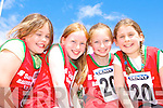 Niamh Holly, Nora O'Connor, Tara O'Shea and Saoirse O'Carroll Ballybunion enjoying themselves at the Denny County Community Games in An Riocht Castleisland on Sunday  .