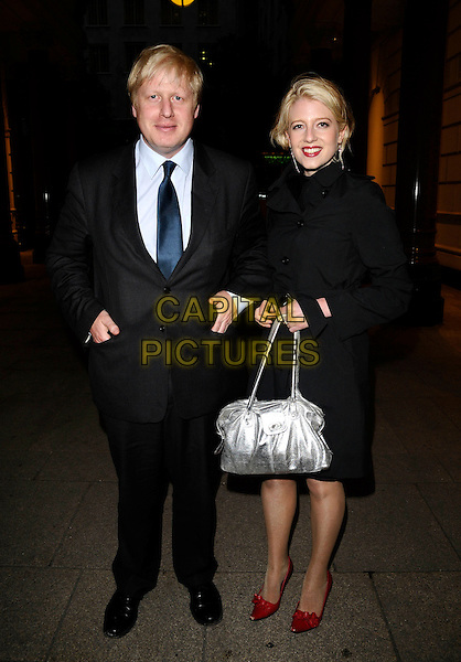 BORIS JOHNSON, Mayor of London & RACHEL JOHNSON.Attends Rachel Johnson's Book Launch Party at Penguin, The Strand, London,.England, UK, May 15th 2008..full length tie black suit jacket blue MP silver bag red shoes coat sister.CAP/CAN.©Can Nguyen/Capital Pictures