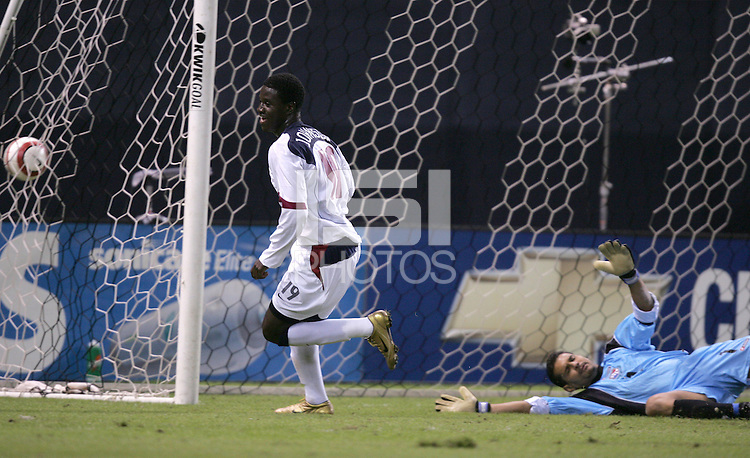 Eddie Johnson scores his third goal of the night during a 6-0 victory over Panama during World Cup qualifying at RFK stadium, in Washington D.C., Wednesday, Oct. 13, 2004. (Photo by John Todd/ISI)