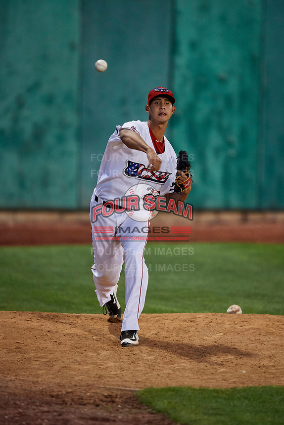 Wilkel Hernandez (28) of the Orem Owlz warms up in the bullpen before entering the game against the Ogden Raptors at Home of the Owlz on September 11, 2017 in Orem, Utah. Ogden defeated Orem 7-3 to win the South Division Championship. (Stephen Smith/Four Seam Images)