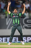 Hasan Ali celebrates the wicket of Wheeler.<br /> Pakistan tour of New Zealand. T20 Series.2nd Twenty20 international cricket match, Eden Park, Auckland, New Zealand. Thursday 25 January 2018. &copy; Copyright Photo: Andrew Cornaga / www.Photosport.nz