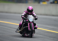 Oct. 6, 2012; Mohnton, PA, USA: NHRA pro stock motorcycle rider Eddie Krawiec during qualifying for the Auto Plus Nationals at Maple Grove Raceway. Mandatory Credit: Mark J. Rebilas-