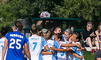 Allston, MA - Saturday August 19, 2017: Alex Morgan during a regular season National Women's Soccer League (NWSL) match between the Boston Breakers (blue) and the Orlando Pride (white/light blue) at Jordan Field.Goal celebration.