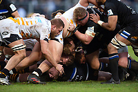 A scrum collapses. Heineken Champions Cup match, between Bath Rugby and Wasps on January 12, 2019 at the Recreation Ground in Bath, England. Photo by: Patrick Khachfe / Onside Images