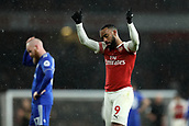 29th January 2019, Emirates Stadium, London, England; EPL Premier League Football, Arsenal versus Cardiff City; Alexandre Lacazette of Arsenal gives the fans the thumbs up as they sing his name