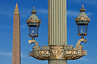 Streetlight and Obelisk of Luxor in Place de la Concorde, Paris, France
