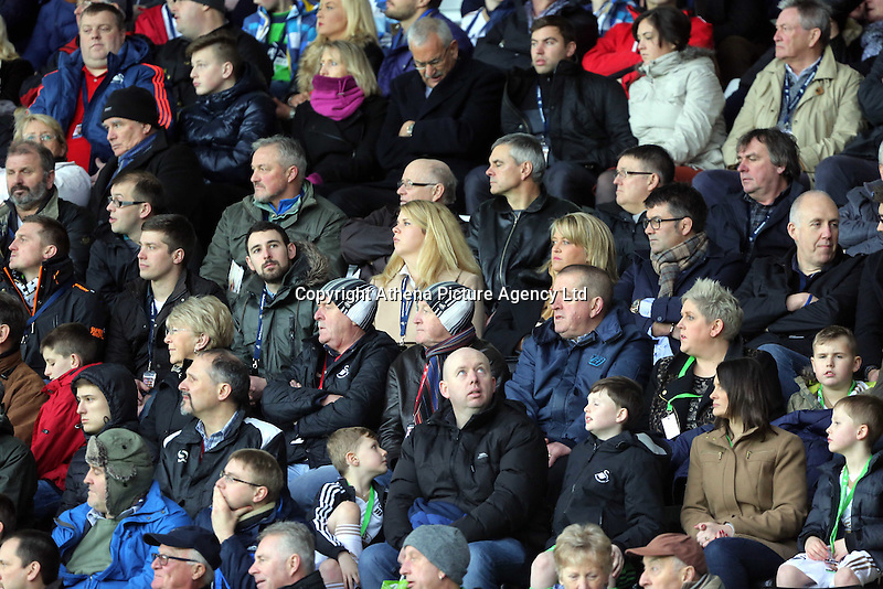 Swansea supporters during the Barclays Premier League match between Swansea City and Crystal Palace at the Liberty Stadium, Swansea on February 06 2016