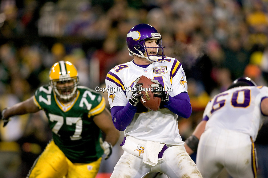 Minnesota Vikings quarterback Brad Johnson (14) during an NFL football game against the Green Bay Packers at Lambeau Field on November 21, 2005 in Green Bay, Wisconsin. The Vikings defeated the Packers 20-17. (Photo by David Stluka)