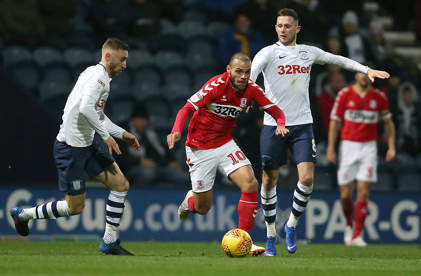 Middlesbrough's Martin Braithwaite battles with Preston North End's Louis Moult (left) and Alan Browne (right) <br /> <br /> Photographer Stephen White/CameraSport<br /> <br /> The EFL Sky Bet Championship - Preston North End v Middlesbrough - Tuesday 27th November 2018 - Deepdale Stadium - Preston<br /> <br /> World Copyright © 2018 CameraSport. All rights reserved. 43 Linden Ave. Countesthorpe. Leicester. England. LE8 5PG - Tel: +44 (0) 116 277 4147 - admin@camerasport.com - www.camerasport.com