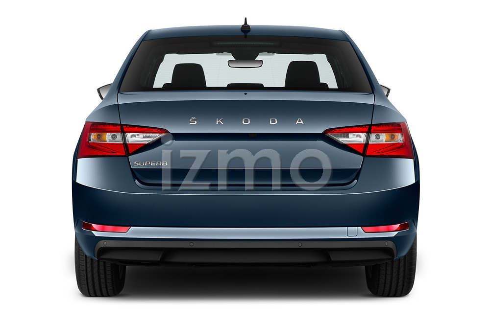 Straight rear view of a 2020 Skoda Superb Ambition 5 Door Hatchback stock images