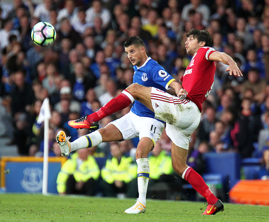 Everton's Kevin Mirallas vies for possession with Middlesbrough's George Friend<br /> <br /> Photographer Rich Linley/CameraSport<br /> <br /> The Premier League - Everton v Middlesbrough - Saturday 17th September 2016 - Goodison Park - Liverpool<br /> <br /> World Copyright &copy; 2016 CameraSport. All rights reserved. 43 Linden Ave. Countesthorpe. Leicester. England. LE8 5PG - Tel: +44 (0) 116 277 4147 - admin@camerasport.com - www.camerasport.com