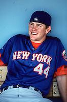 Jason Isringhausen of the New York Mets at Dodger Stadium in Los Angeles,California during the 1996 season. (Larry Goren/Four Seam Images)