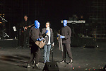 Blue Man Group along with several local performers at the Vegas Cares fundraiser at the Venetian Theater Las Vegas rings in 2018 with fireworks from the top of the Stratosphere