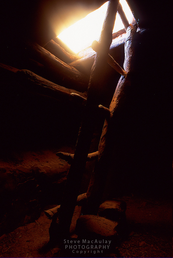 View from inside intact Ancestral Puebloan Kiva, with ladder lit by sunbeam through roof opening, Cedar Mesa, Utah