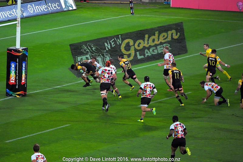 Ardie Savea scores during the Super Rugby match between the Hurricanes and Southern Kings at Westpac Stadium, Wellington, New Zealand on Friday, 25 March 2016. Photo: Dave Lintott / lintottphoto.co.nz