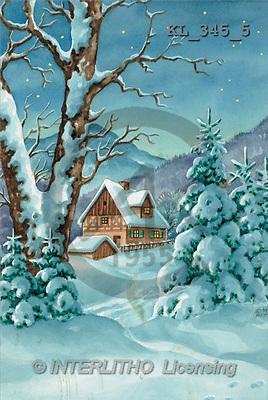 Interlitho, CHRISTMAS LANDSCAPE, paintings(KL345/5,#XL#) Landschaften, Weihnachten, paisajes, Navidad, illustrations, pinturas