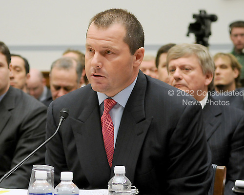 "Washington, DC - February 13, 2008 -- Roger Clemens, former New York Yankee pitcher testifies before the United States House of Representatives Committee on Government Operations and Reform hearing on ""The Mitchell Report: The Illegal use of Steroids in Major League Baseball, Day 2""  concerning alleged use of steroids and human growth hormone (HGH) by Clemens and several other major league players in Washington, D.C. on Wednesday, February 13, 2008.  .Credit: Ron Sachs / CNP.(RESTRICTION: NO New York or New Jersey Newspapers or newspapers within a 75 mile radius of New York City)"