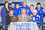 Launching the Killarney Athletic/Killarney Credit Union 7 a side in Killarney on Saturday, the famous soccer competition will commence on 20th June front row l-r Sandra Heffernan, George McSweeney, Don O'Donoghue. Back row: Colette Casey, Ronan Murphy, Mary McCarrick, Tom Tobin, Geraldine Nagle and Toirdealblach O Lionaird..