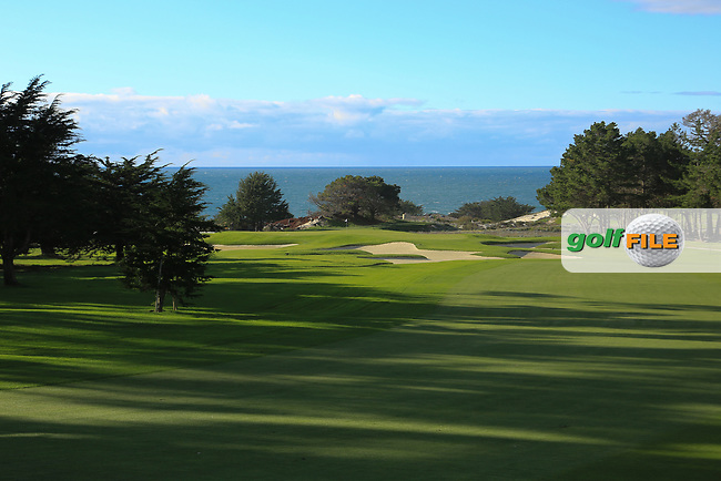 A general view of the 1st hole, Spyglass Hill Golf Course during previews ahead of the AT&T Pro-Am, Pebble Beach Golf Links, Monterey, California, USA. 06/02/2019<br /> Picture: Golffile | Phil Inglis<br /> <br /> <br /> All photo usage must carry mandatory copyright credit (© Golffile | Phil Inglis)